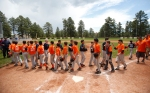 The WFLL Red Sox and Giants shake hands after the final game of the championship Saturday afternoon.