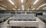 Lecture halls and classrooms inside the new Science and Health building feature cedar plank ceilings, power plug-ins for each seat and wall-to-wall whiteboards.