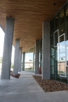 Looking south along the main entrance of the new Science and Health building at Northern Arizona University.