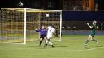 Northern Arizona University's Mei-Te Coco (2) kicks a goal for NAU's fist score against North Dakota State Friday.