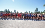 140 girls from 19 schools line up to start the Four Corners Cross Country Invitational at Buffalo Park Saturday morning.