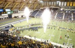 Fireworks ignite as the Northern Arizona University Lumberjacks take the field in the Walkup Skydome for their final home game of the season against Northern Colorado Friday.