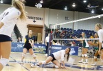 Northern Arizona University's Stacia Williams (2) digs the ball during game action Friday.