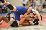 Zach Martin of Northland Preparatory Academy and a wrestler from Durango compete in the 138 pound weight class during the Peaks wrestling tournament Friday.