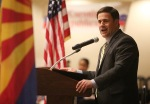 Arizona State Governor Doug Ducey gives a talk during the Coconino County Republican Committee Lincoln Day Dinner at the DoubleTree Hilton in Flagstaff Tuesday evening.